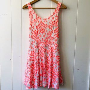 Bethany Mota Orange & White Dress